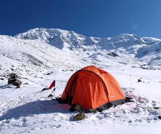 Tent on base camp of Chulu West Peak